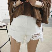 新年好禮 牛仔短褲女夏2018新款高腰韓版寬鬆學生熱褲潮破洞白色牛仔褲胖mm