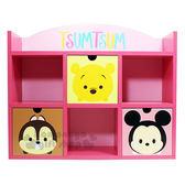 〔小禮堂〕迪士尼TSUMTSUM 橫式三抽雙層收納櫃《粉.大臉》置物櫃.木製櫃.抽屜櫃 4713052-38474