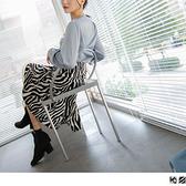 時髦歐美動物紋印花交錯開衩中長裙 OrangeBear《CA2454》