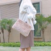 肩背包-毛絨韓版時尚優雅鏈條女斜背包73so22[巴黎精品]