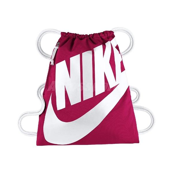 Nike 束口袋 HERITAGE GMSK 桃紅 白 拉鍊 後背袋 男女款 【ACS】 BA5351-694