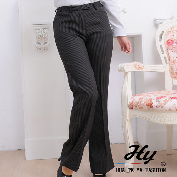 【HTY-01D-B】華特雅-纖感細緻OL辦公室女喇叭褲(黝黑白條紋)