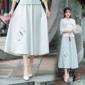 2020夏季小清新民族風女裝 復古棉麻繡花半身裙 民國文藝長裙