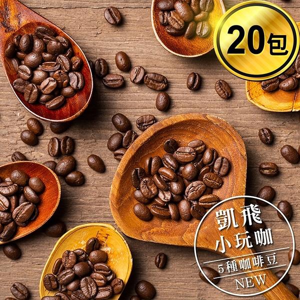 CoFeel凱飛 小玩咖精選世界阿拉比卡單品咖啡豆20g隨身包(5種風味x20包)