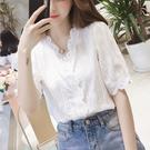 N9155# 夏V領花邊燈籠袖白色洋氣蕾...
