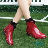 套鞋馬丁雨靴女士夏雨鞋短筒加絨韓國防滑雨鞋女防水鞋平底膠鞋【一條街】