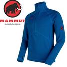 【 MAMMUT 男Aconcagua彈性刷毛半門襟 保暖排汗衣《群青藍》】1014-01261/保暖上衣