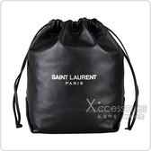 YSL Saint Laurent銀字LOGO羔羊皮水桶包(黑)