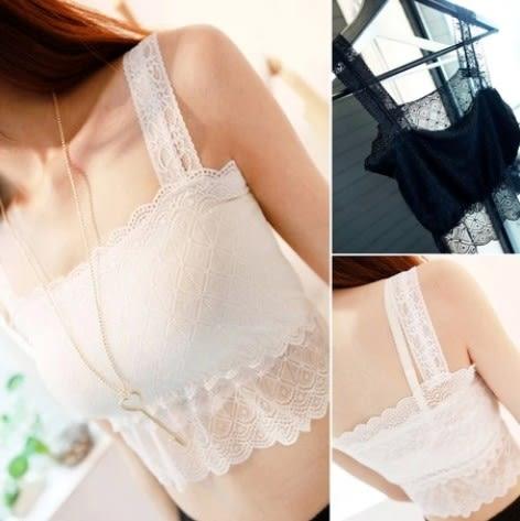 EASON SHOP(GU5201)抹胸白色小背心無袖工字吊帶內搭衫黑色蕾絲拼接彈力貼身小背心女夏裹胸韓版