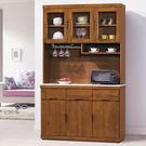 【森可家居】凱西柚木4尺石面餐櫃 8HY420-02 高廚房收納櫃 木紋質感 日系無印 美式鄉村風