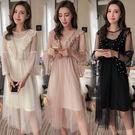 VK精品服飾 韓國風名媛淑女氣質超仙釘珠長袖洋裝