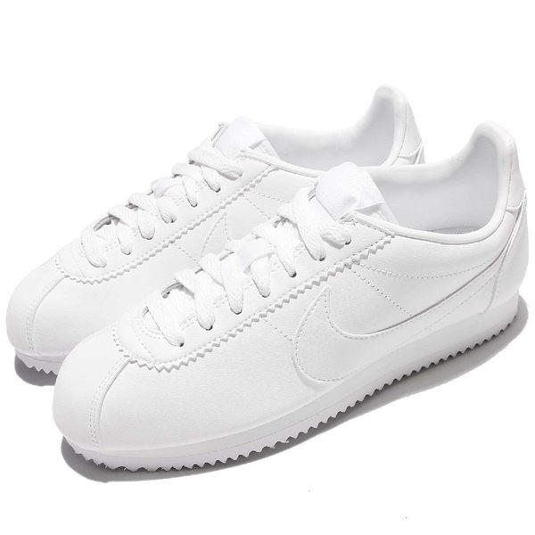 Nike 復古慢跑鞋 Wmns Classic Cortez Leather 全白 白 皮革 阿甘鞋 女鞋 【PUMP306】 807471-102