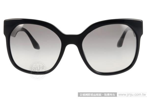 PRADA太陽眼鏡 PR10R TKF0A7 (黑) 完美品味質感大框貓眼款 # 金橘眼鏡