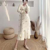 針織連身裙兩件套裝女過膝毛衣裙打底秋冬中長款包芯加厚【小酒窩服飾】
