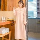 【春季上新】秋冬季可愛珊瑚絨加厚睡袍女加長款法蘭絨睡衣女士浴袍睡裙浴衣