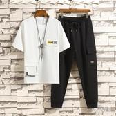 短袖t恤男夏季休閒套裝2020新款潮流青少年運動兩件套帥氣衣服 LR19303【Sweet家居】