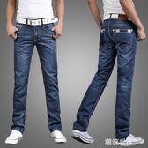 夏季休閒直筒寬鬆大碼牛仔褲男士青年商務修身潮流潮牌薄款長褲子『潮流世家』