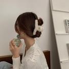 髮夾 夾子發飾優雅仙女氣質毛絨秋冬超仙發夾后腦勺頭飾【快速出貨】