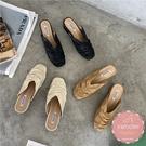 穆勒鞋 舒適皮革抓皺  懶人鞋 涼鞋 拖鞋*KWOOMI-A45
