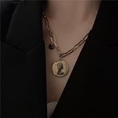 鈦鋼歐美個性復古人像毛衣鍊高級感氣質簡約硬幣項鍊鎖骨鍊小眾 伊蘿 99免運