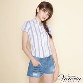 Victoria 印繡割破牛仔短褲-女-淺藍-V5516874
