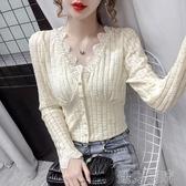 蕾絲打底衫設計感釘珠鏤空蕾絲衫v領性感長袖女早秋修身小眾短款打底衫上衣 快速出貨