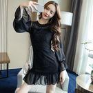 VK精品服飾 韓國風性感燈籠袖網紗拼接修身魚尾長袖洋裝