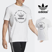 【GT】Adidas Originals 白 短袖T恤 運動 休閒 純棉 素色 手寫 上衣 短T 愛迪達 基本款 Logo DH4771