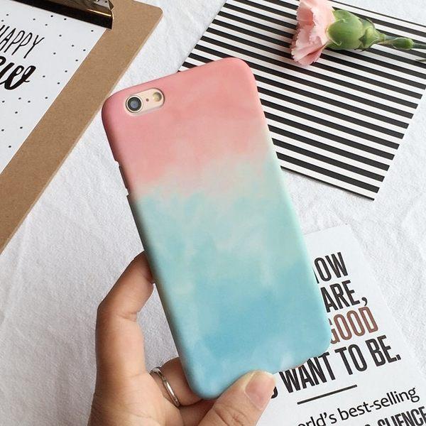 iPhoneX手機殼 韓國 粉藍夢幻漸層 磨砂硬殼半包 蘋果iPhone8X/iPhone7/i6/5s