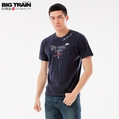 BigTrain潮人文字圓領短袖T-男-深藍/麻灰