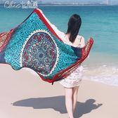 絲巾 絲巾百搭圍巾女披肩兩用紗巾棉麻海邊泰國沙灘巾度假「Chic七色堇」