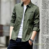 秋季男士修身純棉長袖襯衫韓版青年薄款牛仔襯衣休閒外套男襯衫潮「時尚彩虹屋」