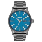 NIXON The SENTRY SS 復刻潮流都會休閒腕錶-槍灰x藍