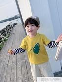 童裝男童秋裝長袖T恤2019新款韓版寶寶假兩件恐龍打底衫潮 韓慕精品