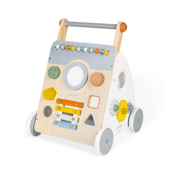【法國Janod】北歐簡約木玩-寶寶遊戲學步推車