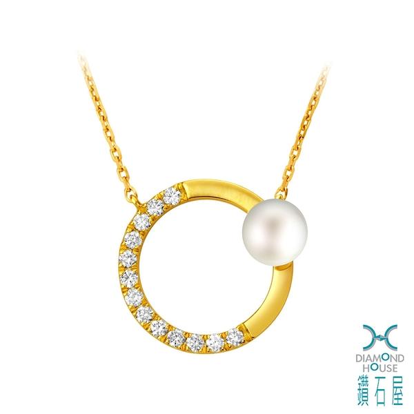 【鑽石屋】黃K金珍珠鑲鑽項鍊