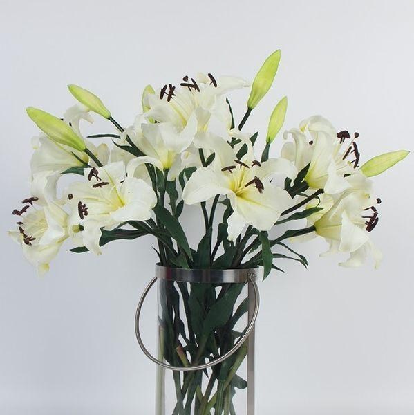 [協貿國際]PU材質虎蘭百合/香水百合米白色/超高品質仿真花外貿/樣板房會所