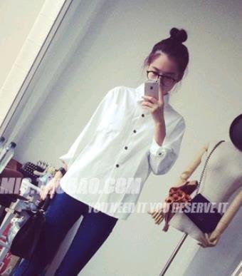 EASON SHOP(GT3646) 長袖白色純色單色女襯衫韓版百搭娃娃領氣質打底襯衣開衫罩衫POLO領