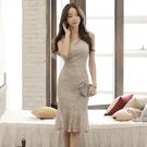 歐媛韓版 洋裝禮服 2021夏季新款名媛氣質修身顯瘦包臀性感蕾絲連身裙無袖時尚魚尾裙