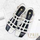 現貨 歐美復古方頭撞色涼鞋 黑白方格涼鞋 真皮涼鞋推薦 真皮腳墊高跟鞋 34-40 EPRIS艾佩絲-優雅白