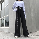 夏季百搭個性街頭寬版闊腿時尚休閒長褲女【時尚大衣櫥】