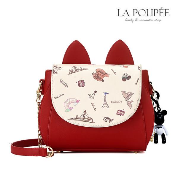 側背包 喵星人萌系貓耳朵造型側背包 3色(附吊飾)-La Poupee樂芙比質感包飾 (現貨+預購)