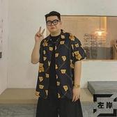 襯衫男夏季復古短袖襯衫寬鬆半袖襯衣男女【左岸男裝】