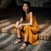 沙灘裙女夏海邊度假氣質吊帶裙顯瘦連衣裙小個子黃色背帶裙A字裙