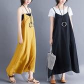 微購【A4377】交叉設計棉麻吊帶裙 L-XL