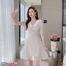 VK精品服飾 韓國風復古領星星印花雪紡優雅短袖洋裝