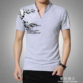 夏季青年短袖T恤男寬鬆加肥加大胖子體恤衫V領男士打底衫大碼衣服 完美情人精品館