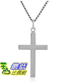 [美國直購] Men s Sterling Silver Solid Polished Cross with Lord s Prayer and Stainless Steel Chain, 24 項鍊