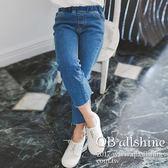 女童牛仔褲 基本款修身鬆緊腰彈力九分直筒牛仔長褲 韓國外貿中大童 QB allshine