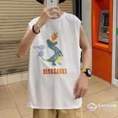 背心 男裝夏季新款無袖t恤韓版潮流卡通恐龍男士寬鬆休閑坎肩上衣-星時代生活館